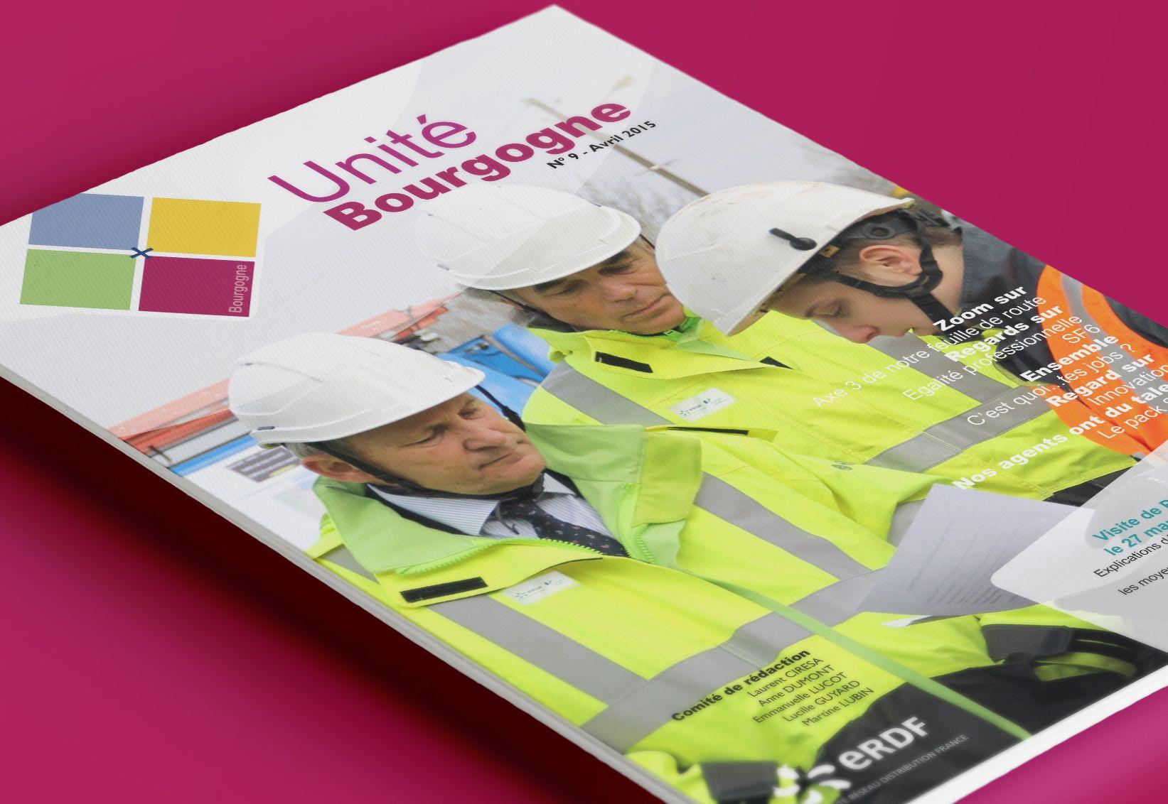 Journal interne ERDF couverture par La Griffe, Agence de communication, design et web à Dijon