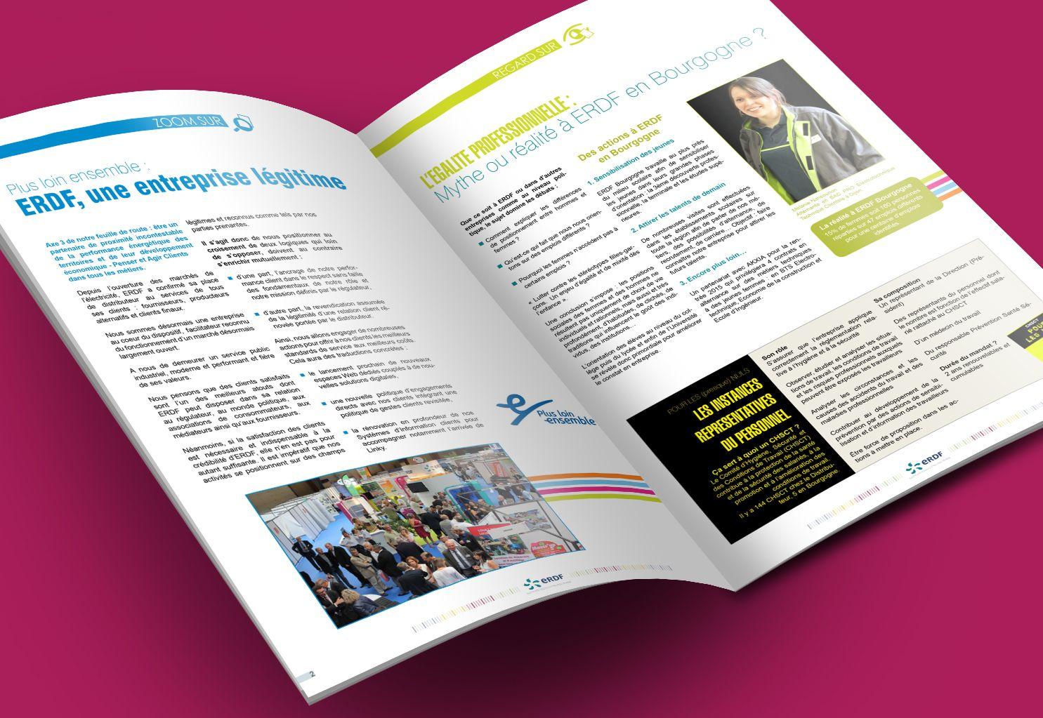 Journal interne ERDF par La Griffe, Agence de communication, design et web à Dijon