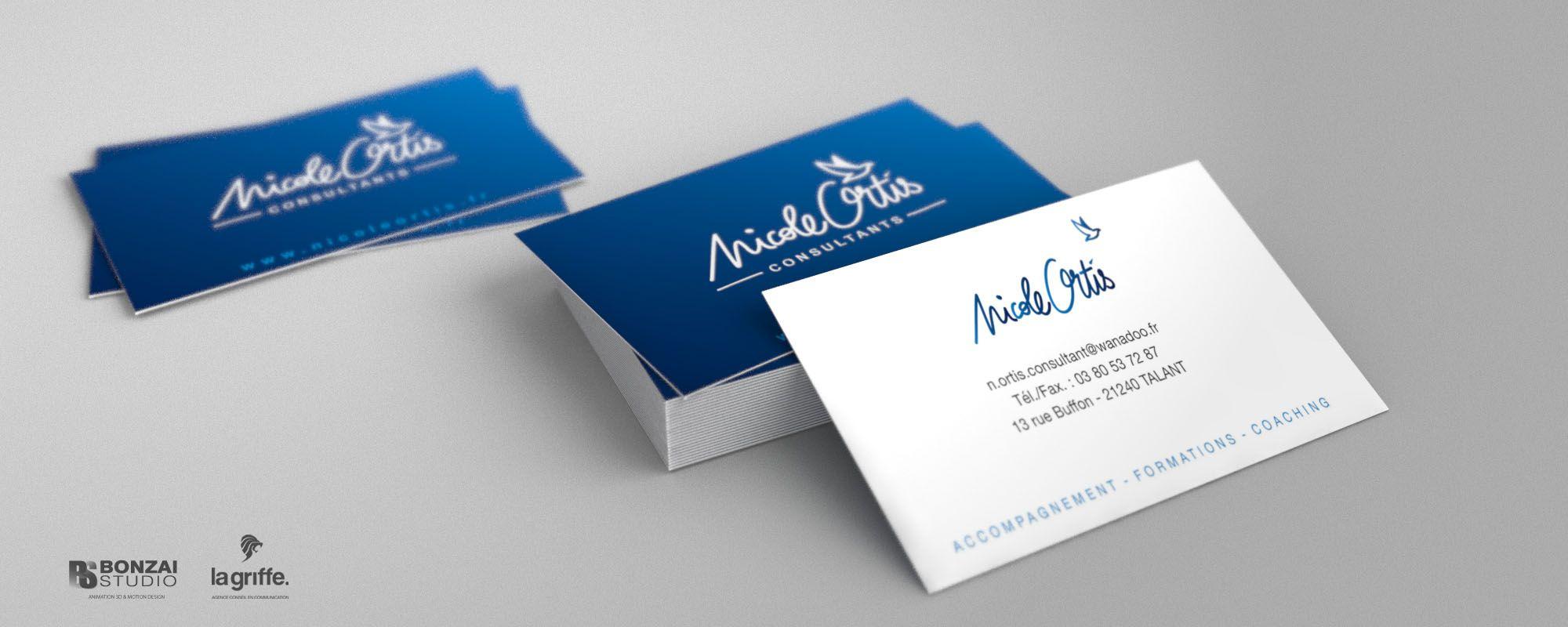 Pile De Cartes Visites Nicole Ortis Par La Griffe Agence Communication Design