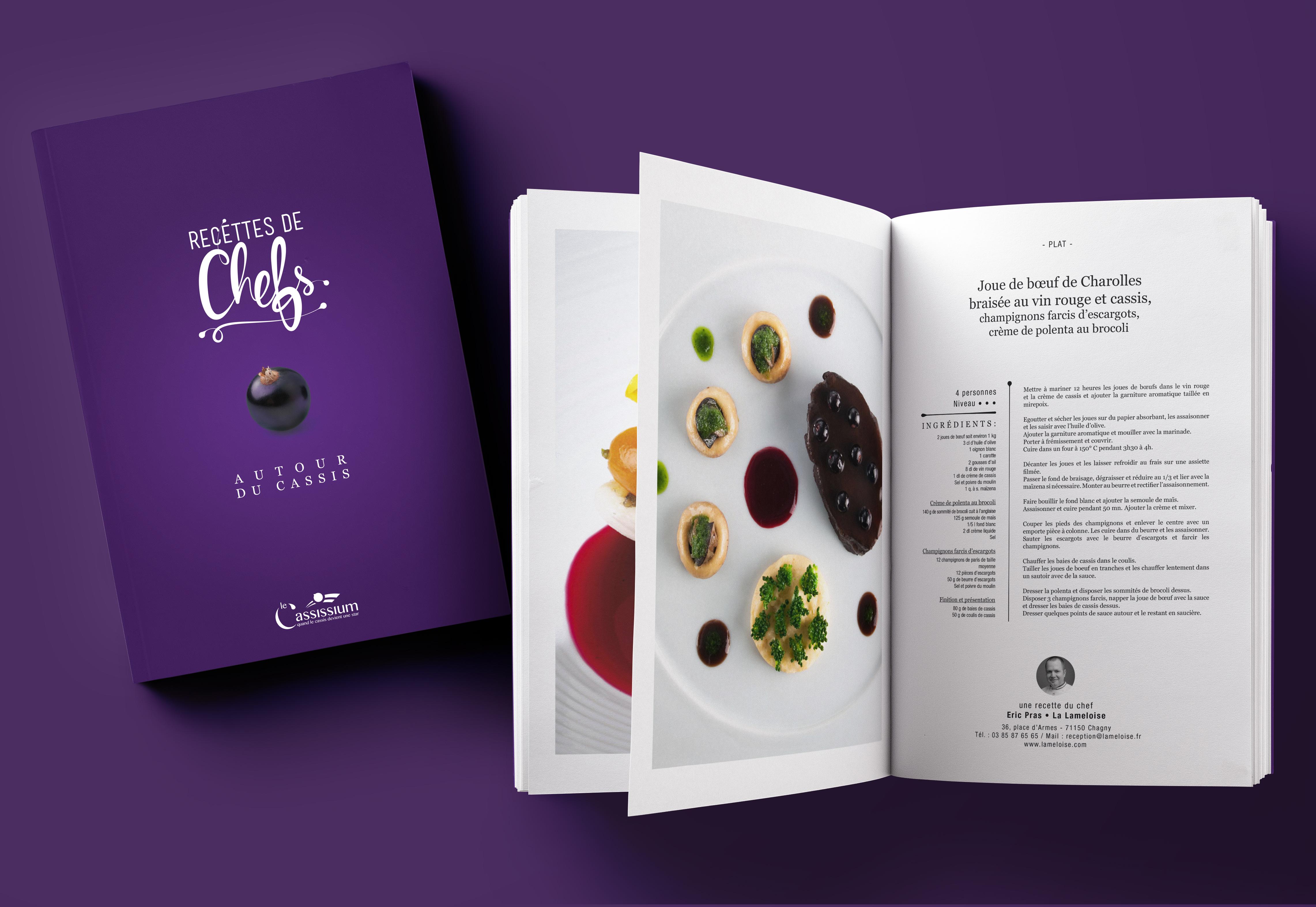 Livret réalisé pour recettes de chefs par La Griffe, Agence de communication, design et web à Dijon
