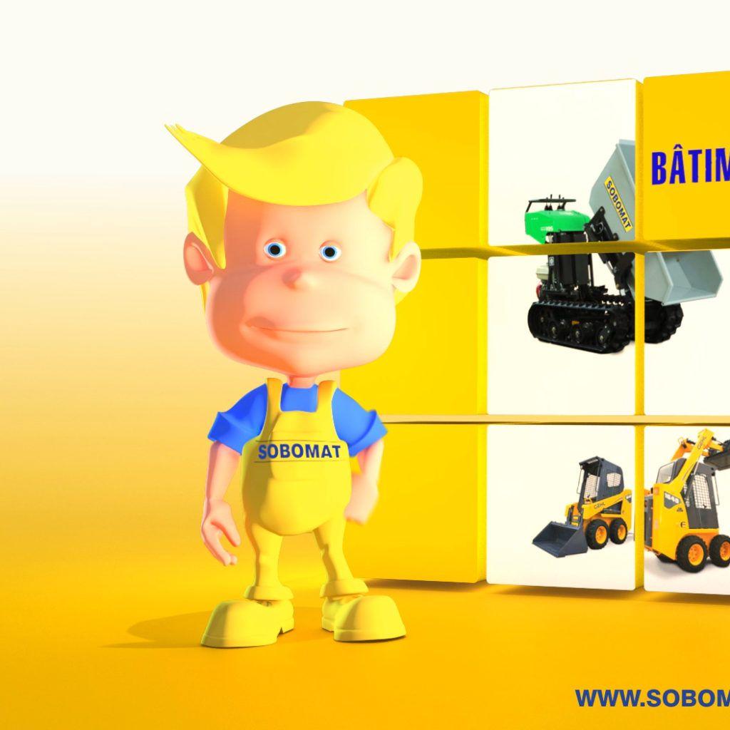 Mascotte 3D Sobomat par La Griffe, Agence de communication, design et web à Dijon