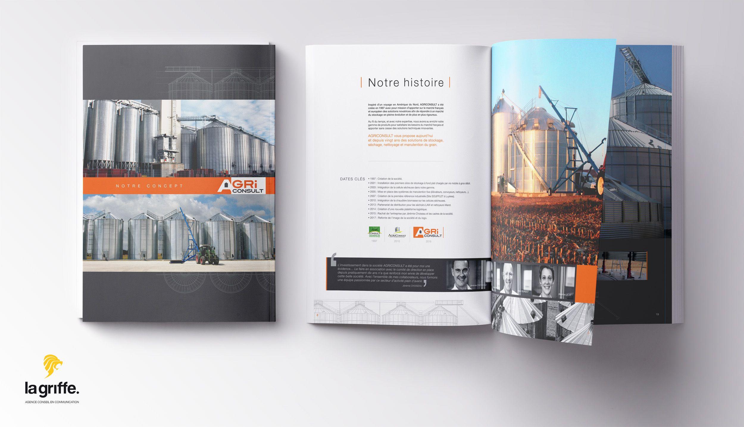 Création d'un catalgoeu pour Agriconsult Concepteur de solutions de stockage pour le grain. LA GRIFFE DIJON