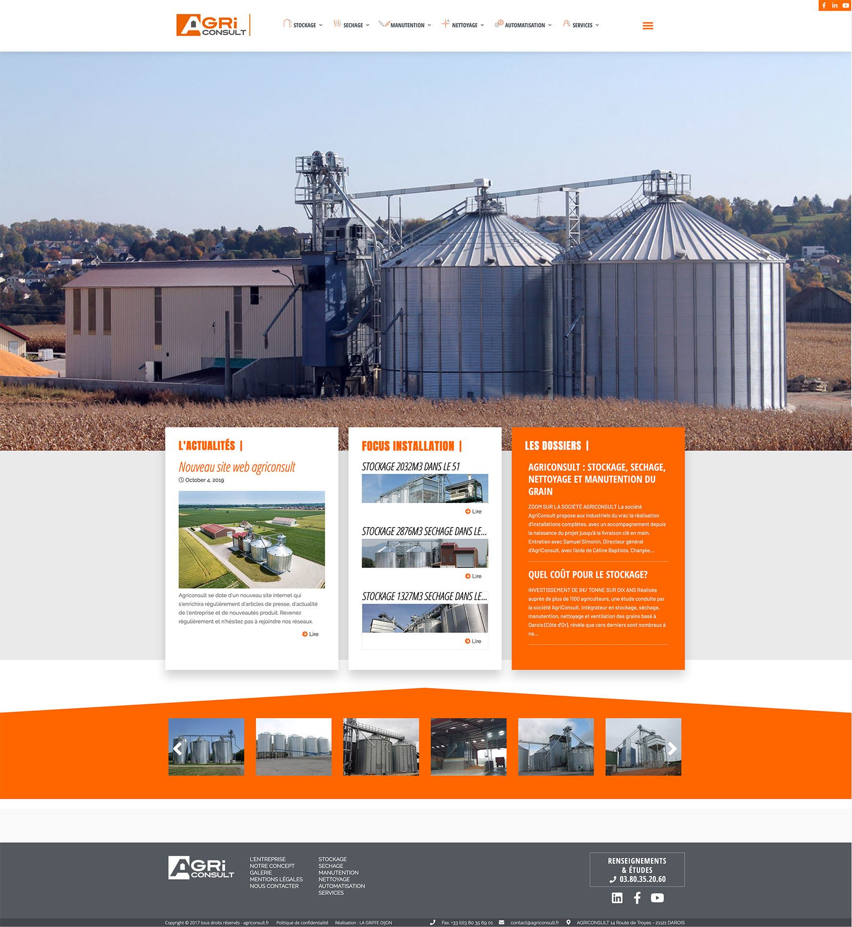 Communication & création de site internet pour Agriconsult solutions pour le stockage des cereales bourgogne