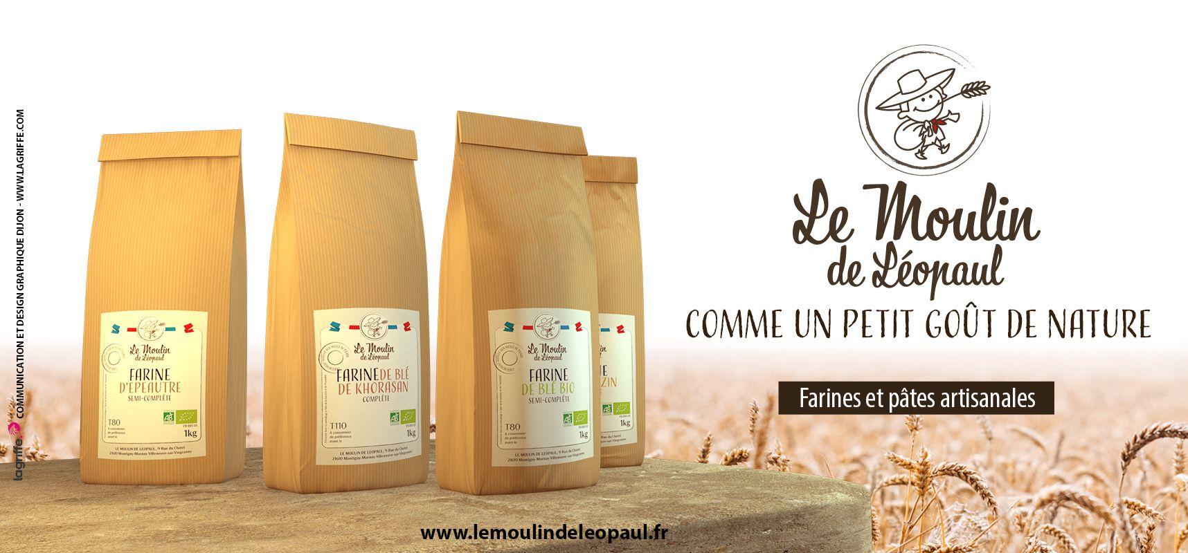 Communication, graphisme packaging Le Moulin de Leopaul farines et pâtes biologique LA GRIFFE DIJON