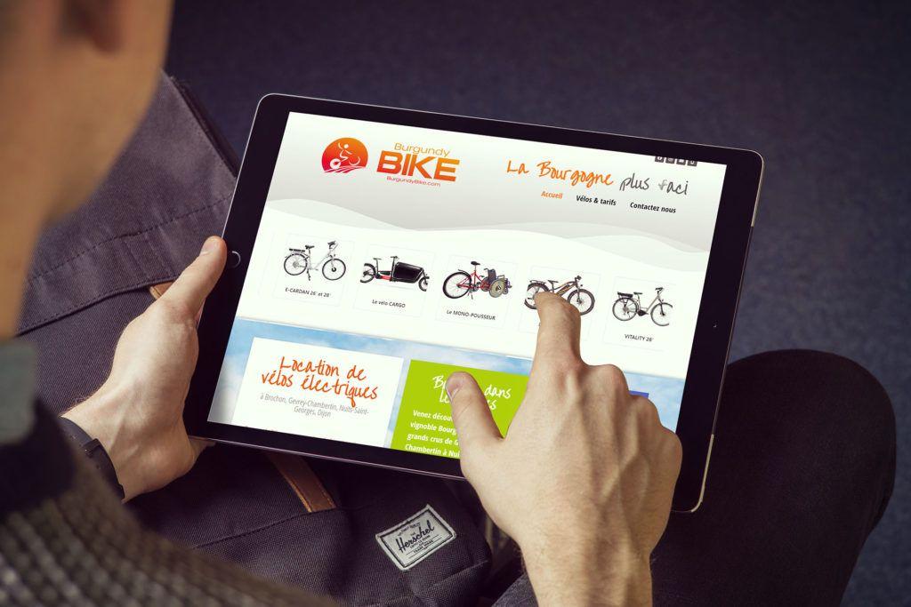 Création du logo, identité visuelle et site web pour Burgundy Bike, Brochon Gevrey Chambertin en Bourgogne